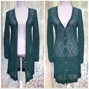 Free People green open knit button up duster